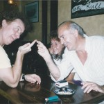 Zoot Money and Al Kirtley finger-fencing, with Emma Kirtley looking on. Bulls Head, Barnes 1991