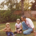 Me with two very blonde kids in our garden at Lightwater after the scorching summer of '76.